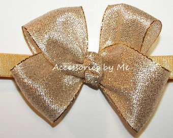 Infant Gold Headband, Silver Bow Baby Hair Band, Lame Metallic Ribbon Bow Headbands, Holiday Festive Wedding Party Pageant 1st Birthday Band