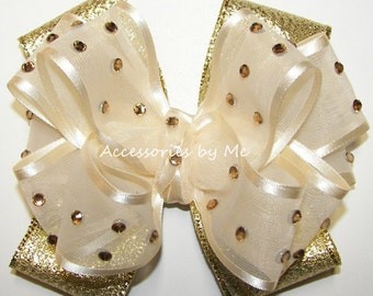 Glitz Pageant Hair Bow, Ivory Gold Lame Hairbow, Embellished Girls Clip, Baby Toddler Children Accessories, Custom Hairbows, Bows Barrettes