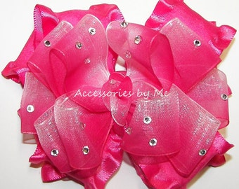 Glitzy Hair Bow, Hot Pink Ombre' Organza Ruffle, Embellished Clip, Girls Baby Toddler Accessories, Pageant Bows Barrette, 1st First Birthday