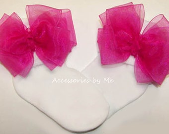 Dressy Bow Socks, Organza Trim Socks, Fuchsia Bright Shocking Hot Pink Bows, Baby Newborn Toddler Girls Flower Girl, Pageant, 1st Birthday
