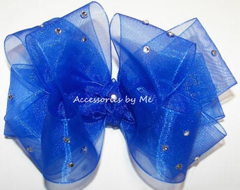 Royal Blue Hair Bow, Sparkly Organza Hairbow, Embellished Clip, Baby Girls Hairbows, 1st Birthday Princess, Pageant Bows, Barrettes, Clips