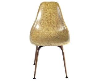 Mid-Century, Eames Era Burlap Fiber Shell Side Chair FREE SHIPPING!