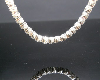 Spiral Sqares Necklace Sterling Silver 30 Inch Heavy Thick 5mm Wide Milor Italy 925 Odd Unique Chain