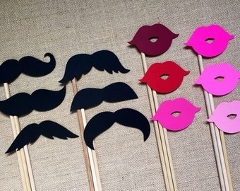 Mustache and Lip Photo Booth Props . Photo Booth Props . Mustaches and Lips . Mustaches . Lips . Assorted Styles and Colors . Set of 12