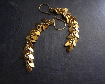Leaf Earrings,Long Chain Earrings,Chain Earrings,Gold Chain Earrings, Long Earrings Gold,Gold Leaves,Shimmery,Autumn,Gold Vermeil,Gold Leaf