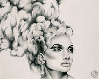 """Clouded, 11""""x14"""" Original Graphite Illustration and High-Quality Digital Prints"""
