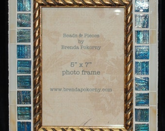 Deep Teal with Ivory Glass Tile 5 x 7 Mosaic Photo Frame  MOF1436
