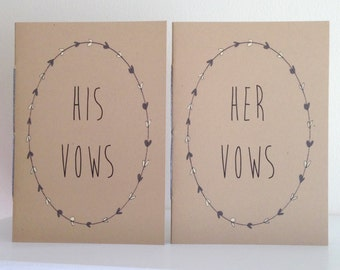 Wedding Vow Books - Set of 2 - His And Her Vow Books OR Personalized ~