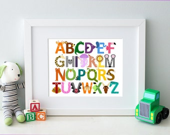 Animal Alphabet Art Print, Children's Art for Nursery or Kid's Room