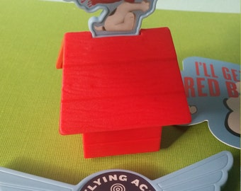 SNOOPY RED BARON Cake Topper cupcake rings pick birthday party goodie bags Charlie Brown Peanuts Flying Ace figurine figure woodstock dog