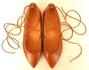 Lace-Up Pointy-toe Ballet Flat-Ankle Strap Leather Ballerinas-Tie-up leather ballet flats