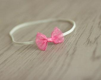 Pink Bow Headband, Lace Bow Tieback, Lace Newborn Headband, Pink Lace Photography Prop