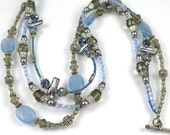 Light Blue Quartz Triple Stranded Statement Necklace-Perfect for White and Denim