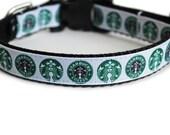 Starbucks Dog Collar, Starbucks Coffee, Small Dog Collar, Boy Dog Collar, Girl Dog Collar  - Starbucks