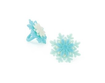 Snowflake Cake Cupcake Topper Rings  - 12 count - Baking and Candy Making Party Decorations