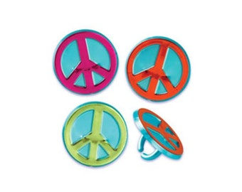 Peace Sign Cake Cupcake Topper Rings  - 12 count - Baking and Candy Making Party Decorations