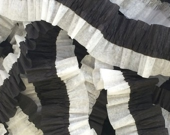 Black and White Ruffled Crepe Paper Streamers - 36 feet - Paper Garland Goods Party Supplies