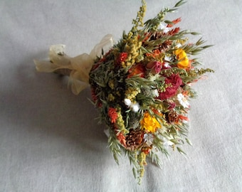 Autumn country woodland bridal wedding  bouquet with orange and reds dried flower wedding  bouquet