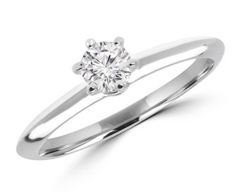 1/5 CT 6-Prong Solitaire Round Cut Diamond Engagement Ring in 10K White Gold