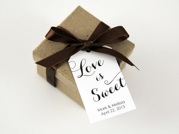 Wedding Favor Tag - LARGE - Love is Sweet - Custom Tag - 36 Pieces - 3.5 x 2 inches