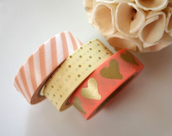 Pink/Gold Washi Tape Set of 3