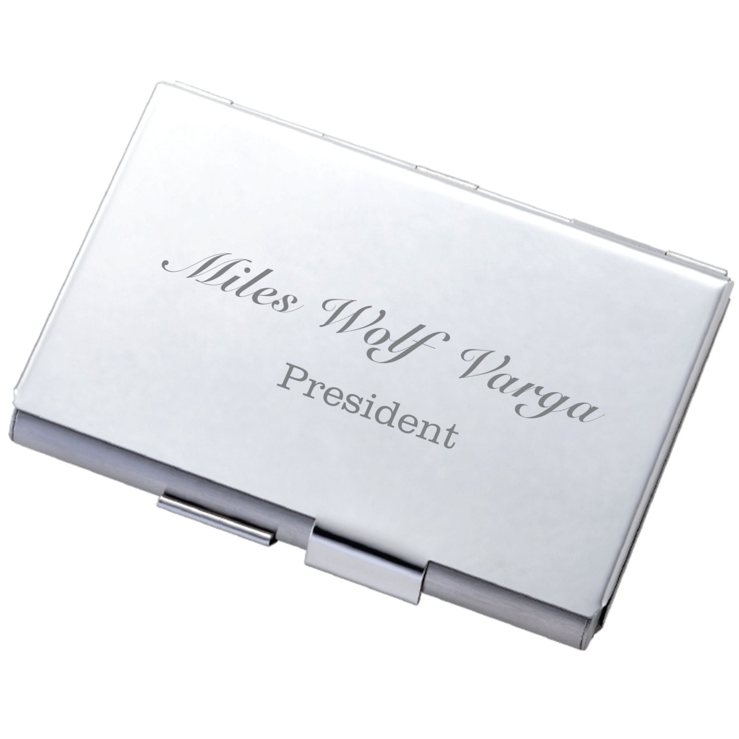 Personalized Business Card Holder High Polished Silver