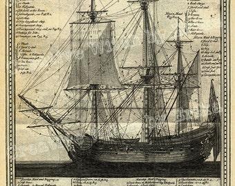 Vintage ship, book page, digital download