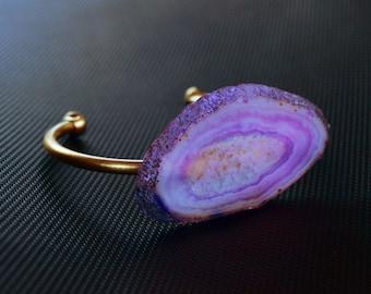 Purple Agate Slice Bangle, Agate Bracelet