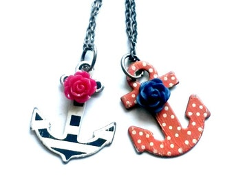 Sailor Jerry Necklace Painted Anchor Rockabilly Nautical Handmade Gift