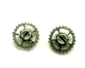 Mini Gear Studs Screw Earrings steampunk silver handmade gift post earrings