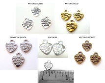100) Made With Love Tags Antique Gold, Antique Silver or Antique Bronze, Platinum or Gunmetal Black, Tibetan Made with Love Charms