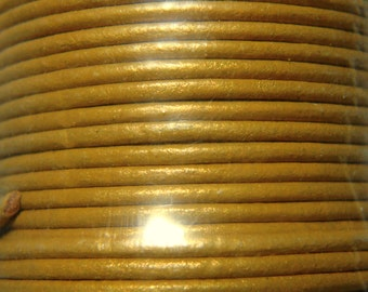 4 Yds / 12 ft 1.5mm METALLIC GOLD Leather Cord, 1.5mm Round Leather, Premium Leather Cord, Leather Supplies, Wrap Bracelet Cord