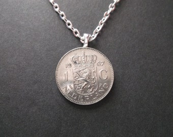 Netherlands Coat of Arms Coin Necklace -1967 Coin Pendant with Bail and Chain