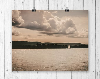Sailboat Print Nautical Decor Lake House Decor Nature Photography Sunset Art Lake Life Rustic Wall Art Country Home Decor Serenity Art Photo