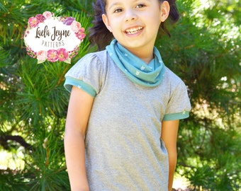 Girls Emmy T-shirt PDF Pattern/Girls T-shirt Pattern/Boys T-shirt Pattern/Long Sleeve Short Sleeve Elbow Sleeve Hood Cowl T-shirt Pattern