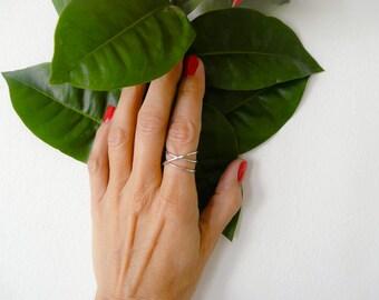 Criss Cross Sterling Silver Ring Index Finger Mid Finger Ring For Women