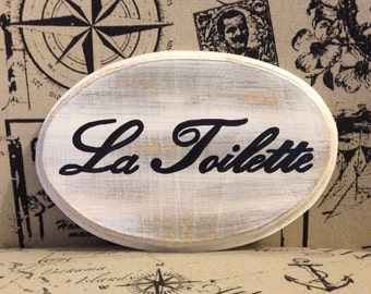 Adorable Bath Sign (La Toilette) White (5x7)