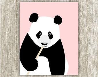 Panda Wall Art Nursery Decor, Black White Pink Nursery Wall Decor, Cute Panda Poster Panda Printable, Girls Room 8x10 11x14 Instant Download