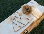 50th Anniversary Gift , Personalized Wine Box , Anniversary , Birthday , Shabby Chic , Wedding , Burlap Rustic Wine Box