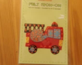 "FIRE TRUCK FELT Iron On Transfer/3-1/2"" x 3"" Felt Applique"