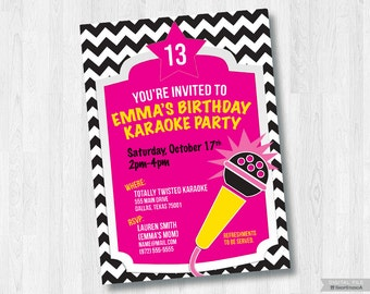 Karaoke Birthday Party-Printable 5x7 Invitation *Digital File Only*