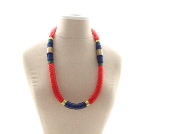 Gold or Red Samburu Tribal Marine Cord Wrap Statement Necklace