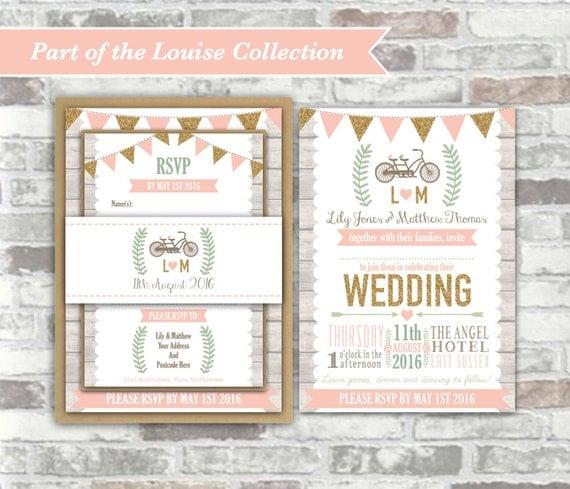 PRINTABLE Digital Files - Louise Collection - Personalised Wedding Invitation Bundle Print Your Own DIY Rustic Wood Blush Gold Bicycle Bike