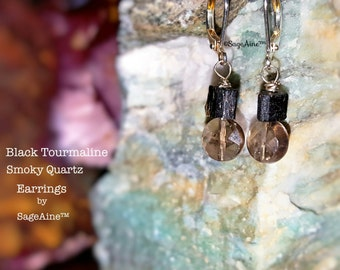 SageAine :Black Tourmaline, Smoky Quartz Crystal Silver Earrings, Dispel Transmute Negativity, Auric Shield, Reiki Charged, Crystal Healing