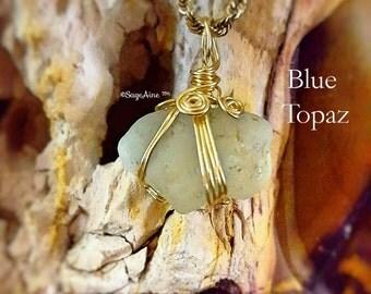 SageAine: Blue Topaz Crystal Amulet,  Manifestation Stone, Reiki Charged, Crystal Healing
