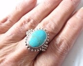 Turquoise Silver Ring - Statement Ring - Nepalese Sleeping Beauty Turquoise Ring - Bohemian Jewelry - December Birthstone - Gift for Her