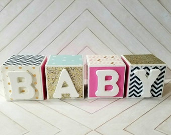 Baby Name Blocks Personalized Gold, Pink, Navy,Cream and Mint 2 Inch Wood Belly Letter Nursery- Newborn-Maternity Photo Prop-or Shower Gift