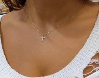 Diamond Cross Necklace 14k Yellow Gold/ 14k Delicate Diamond Cross 0.10ct SI1 Clarity G Color/ Minimal Gold Diamond Cross