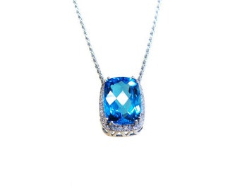 Blue Topaz and diamond  necklace cushion cut large Swiss blue topaz 13.6 ct