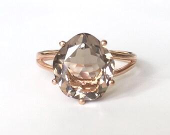 Size 6 - Smoky Quartz Faceted Cut 18K Matt Finish Rose Gold Vermeil Ring